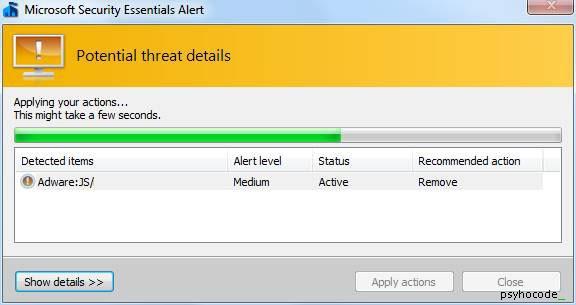 mse remove virus