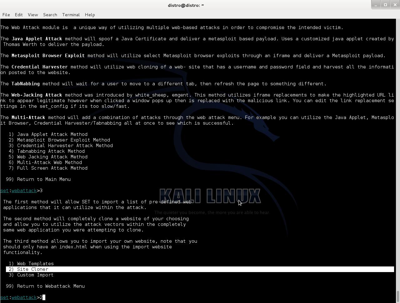 Клонирование сайта SET Kali linux