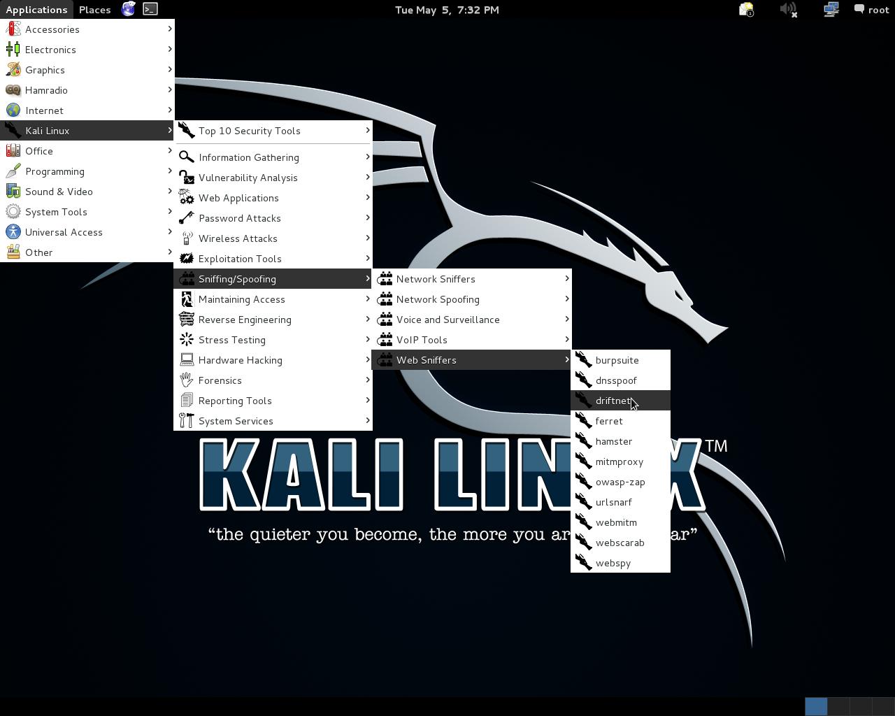 Driftnet + Kali Linux