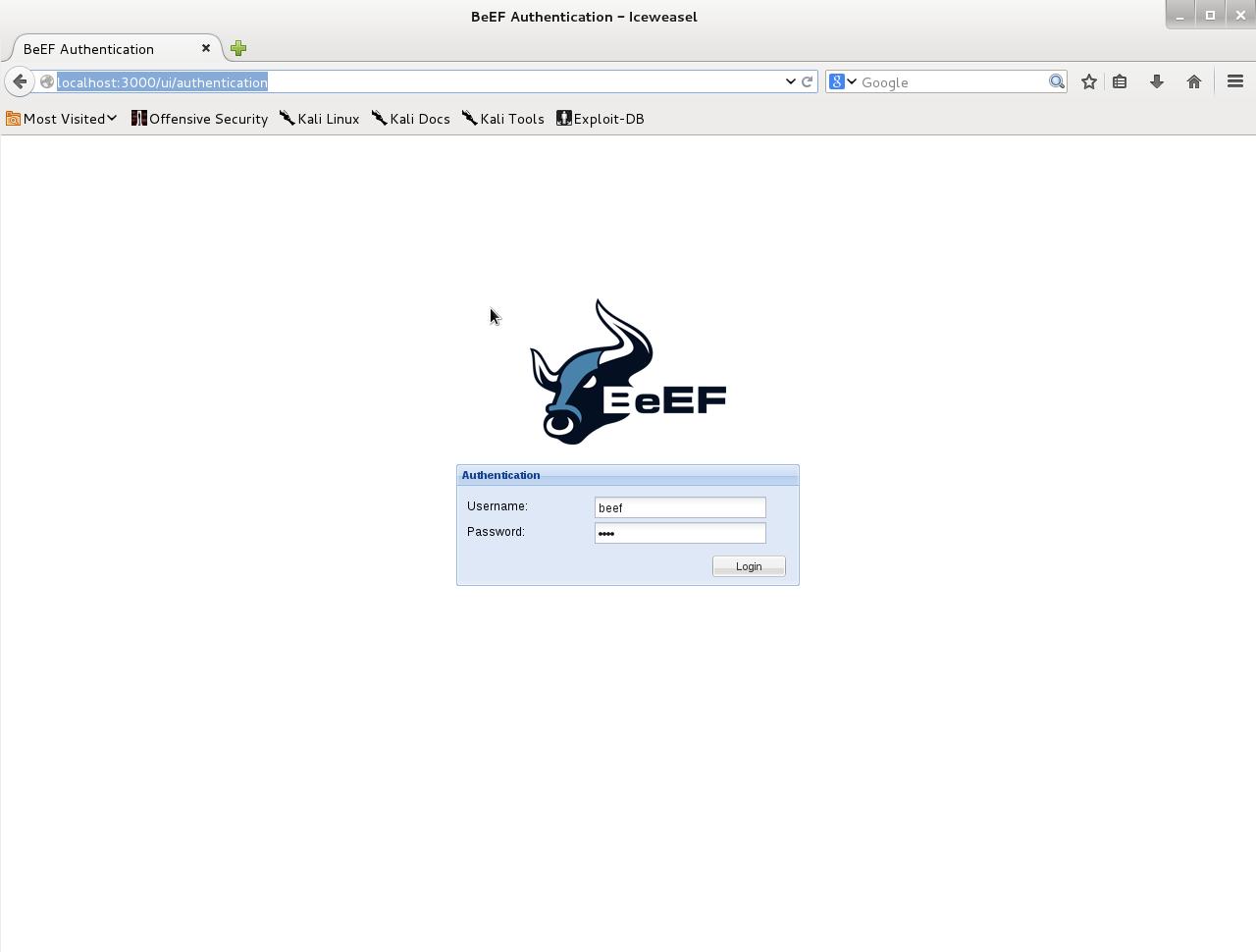 Открываем BeEF с любым браузером