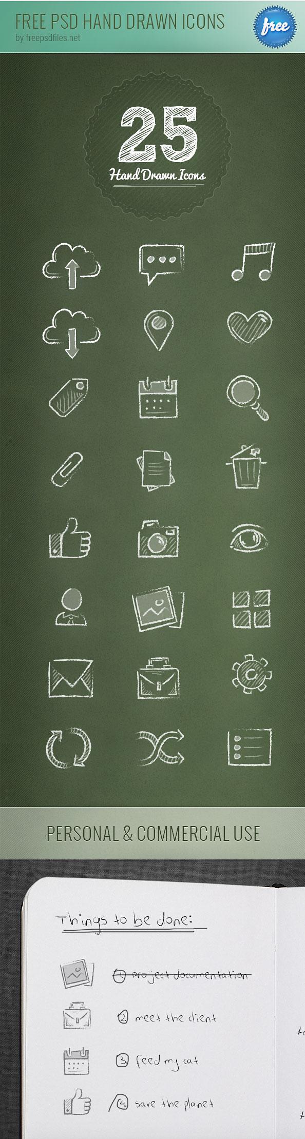 Нарисованные от руки бесплатные иконки в формате PSD