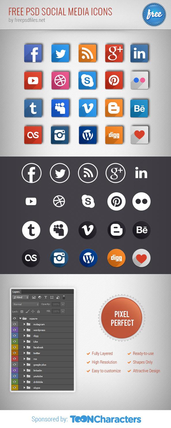 Бесплатные иконки социальных сетей в формате PSD