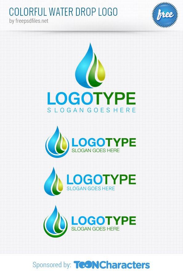 Шаблон красочного логотипа капли воды