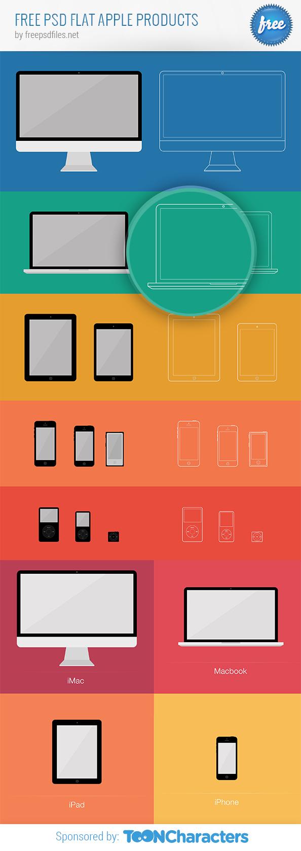 Бесплатные плоские макеты продуктов Apple в PSD
