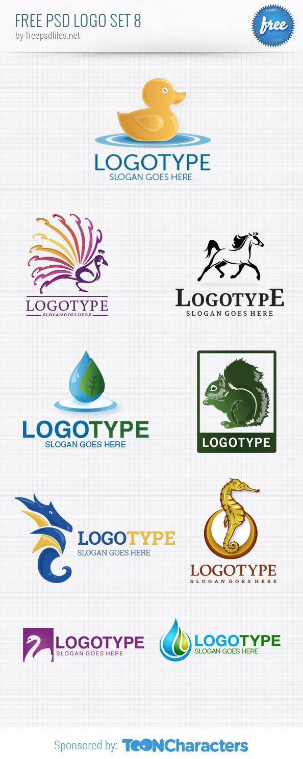 Бесплатный PSD пакет дизайнерских логотипов №8