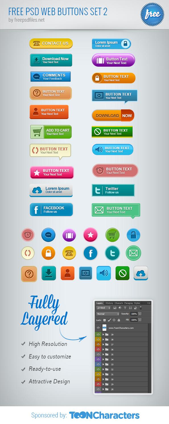 Бесплатный PSD набор веб кнопок 2