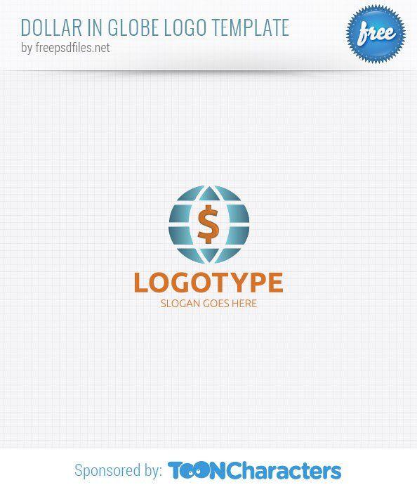 Доллар в глобусе (шаблон логотипа)