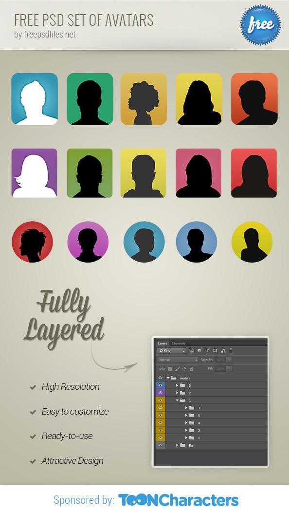 Бесплатный набор аватаров в формате PSD