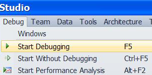 Visual Studio 4.0 Start Debugging