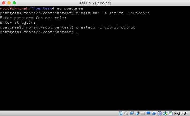 Установка базы данных для Gitrob