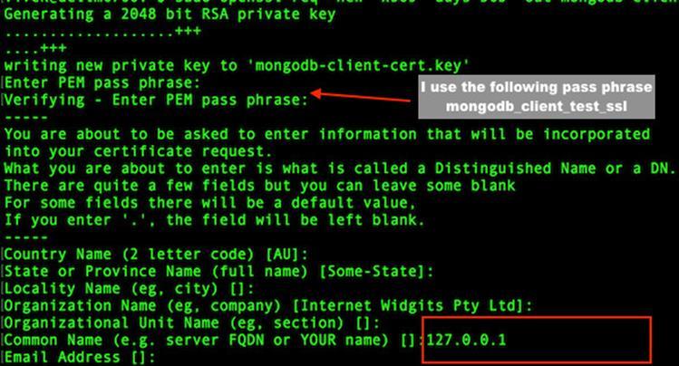 MongoDB SSL устанавливает сертификат клиента