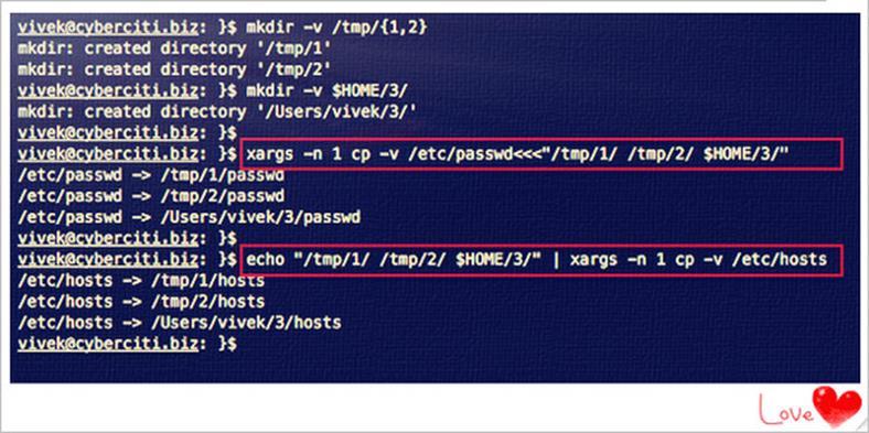 Копирование нескольких файлов в разные каталоги с помощью Linux / Unix cp команды
