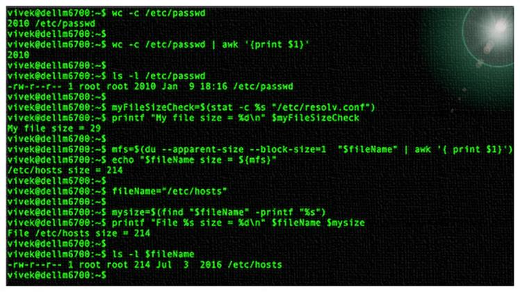 Как проверить размер файла в сценариях оболочки Linux / Unix bash