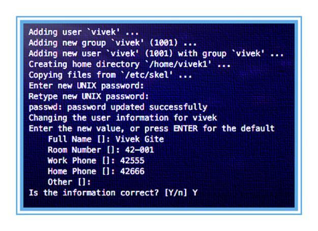 Как добавить пользователя с именем vivek