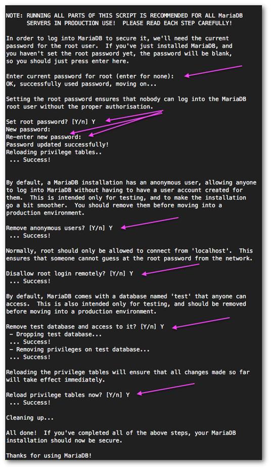 Обеспечение безопасной установки MariaDB