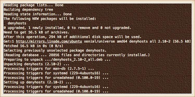 Как установить denyhosts на Ubuntu Linux 16.04 LTS (средство защиты от вторжений)