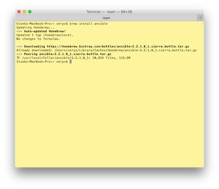 Как установить Ansible на Apple MacOS X с помощью командной строки