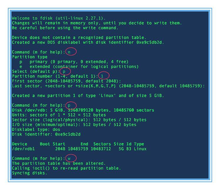 Разбиение диска на виртуальной машине