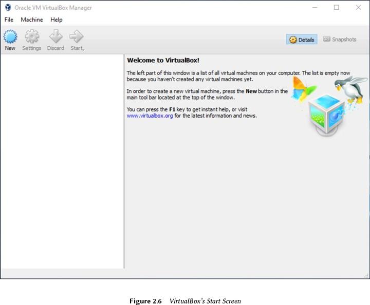 Начальный экран Virtual-Box
