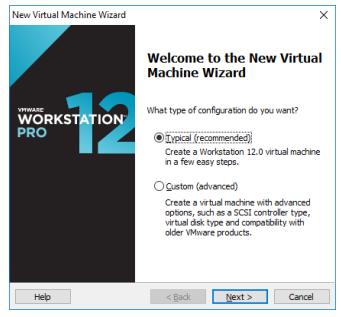 Начальный экран VMware