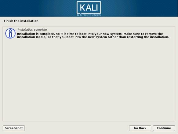 Установка Kali Linux на жесткий диск завершена