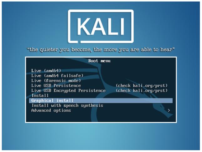 Экран загрузки Кали Линукс