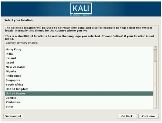 Выбираем страну на Kali Linux