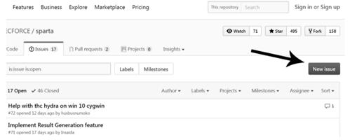 Cтраница проблем проекта GitHub