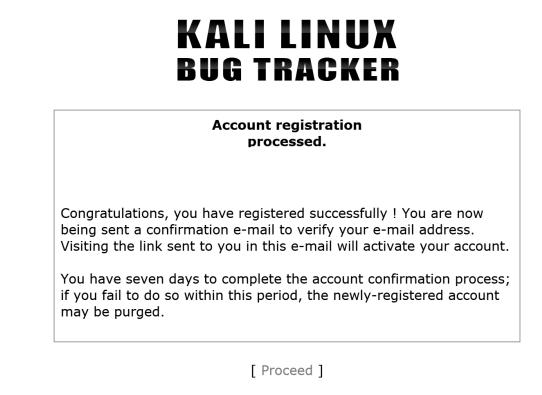 Страница подтверждения регистрации